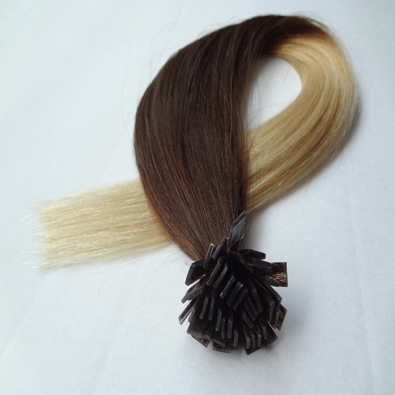 2015 fashion remy Brazilian Human hair flat tip prebonded hair extension ombre color hair